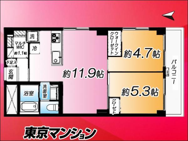 中古マンション 新宿区二十騎町2−12 都営大江戸線牛込神楽坂駅駅 3999万円