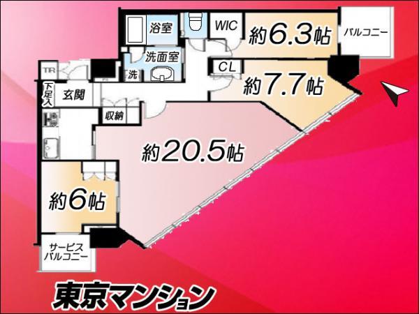 中古マンション 江東区東雲1丁目9-41 有楽町線辰巳駅駅 7495万円