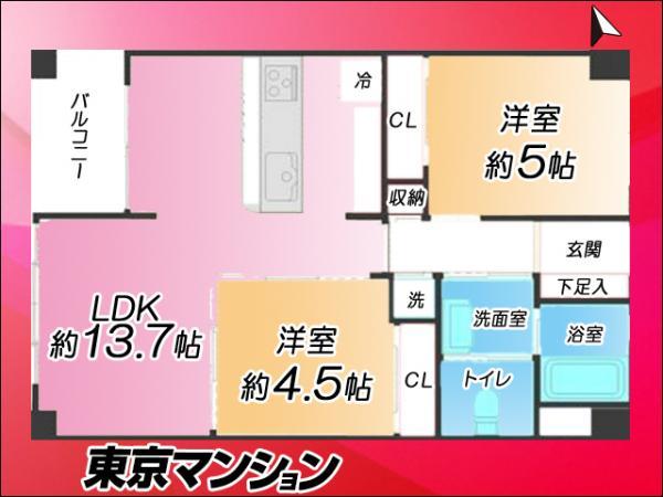 中古マンション 世田谷区経堂3丁目 小田急線経堂駅駅 2480万円