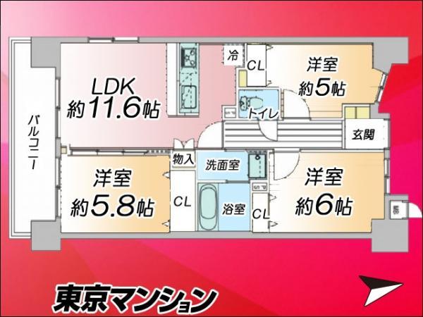 中古マンション 台東区浅草2丁目18−4 つくばエクスプレス浅草駅 5580万円