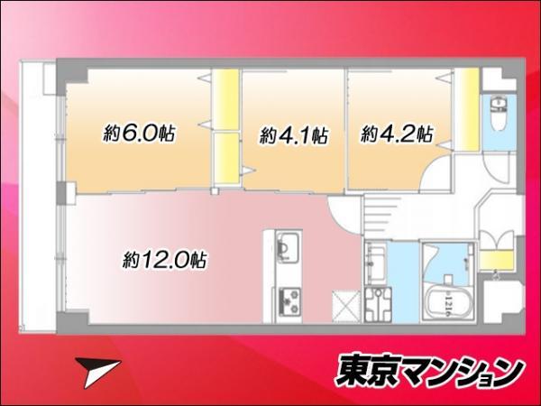 中古マンション 大田区仲六郷3丁目2-13 京急本線雑色駅 2999万円