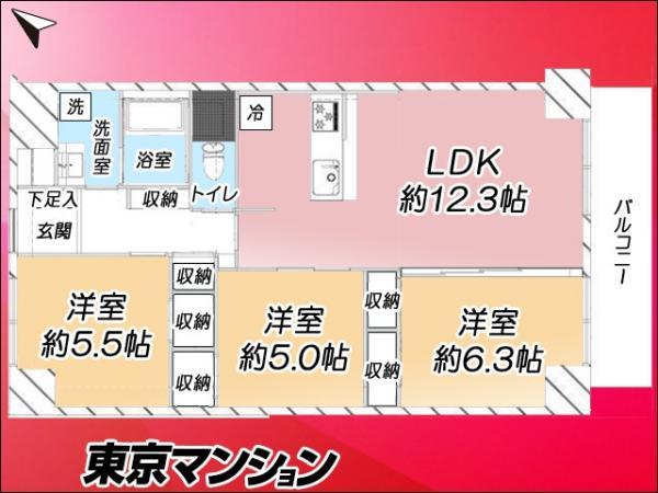 中古マンション 江戸川区西葛西4丁目2-5 東西線西葛西駅駅 3680万円