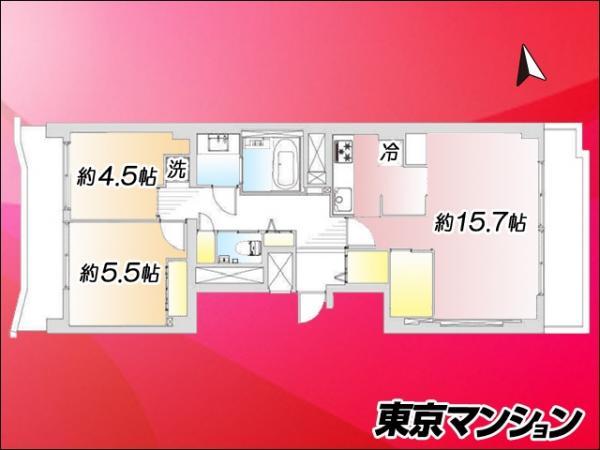 中古マンション 品川区上大崎3丁目14-17 JR山手線目黒駅 4199万円