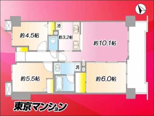 中古マンション 練馬区高松3丁目3-14 西武池袋線富士見台駅 3270万円