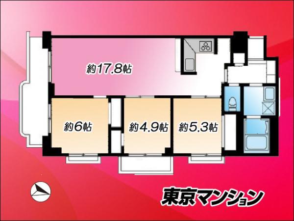 中古マンション 江東区辰巳1丁目6-17 有楽町線辰巳駅 3498万円