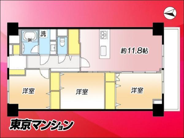 中古マンション 江東区北砂3丁目5-41 都営新宿線西大島駅 3380万円