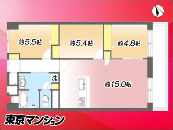 中古マンション 江戸川区西葛西5丁目5-10 東西線西葛西駅 3490万円