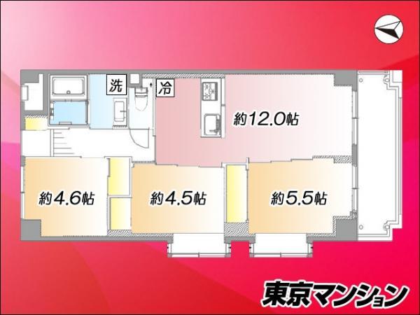 中古マンション 大田区本羽田3丁目20-17 京急空港線糀谷駅 3499万円