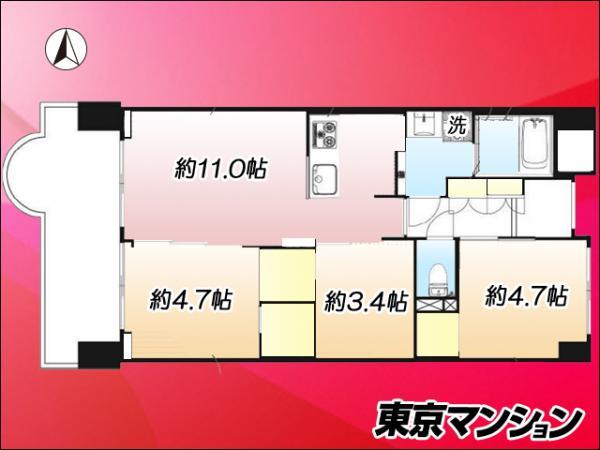 中古マンション 大田区矢口3丁目 東急多摩川線武蔵新田駅 3790万円