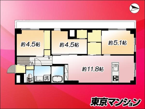 中古マンション 世田谷区赤堤1丁目43-14 小田急線経堂駅 3499万円