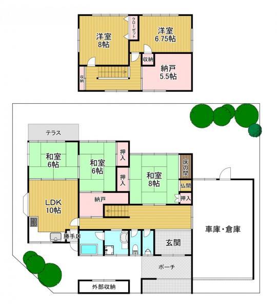 中古戸建 大津市南郷2丁目 JR東海道本線(米原〜神戸)石山駅 1380万円
