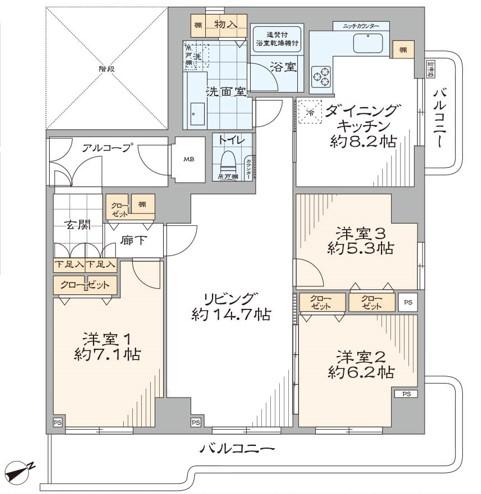 中古マンション 新宿区若葉1丁目 JR中央線四ツ谷駅 9280万円