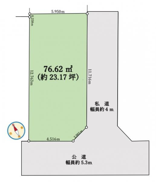 土地 草加市八幡町504-2 東武伊勢崎線新田駅 1380万円