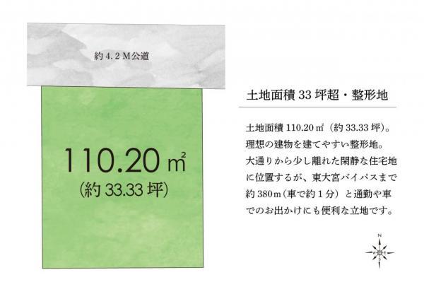 土地 上尾市大字瓦葺 JR東北本線(宇都宮線)東大宮駅 1380万円