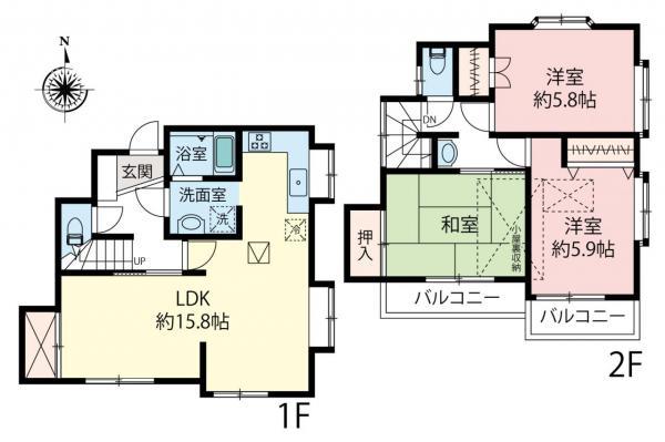 中古戸建 小平市津田町3丁目 JR武蔵野線新小平駅 3599万円