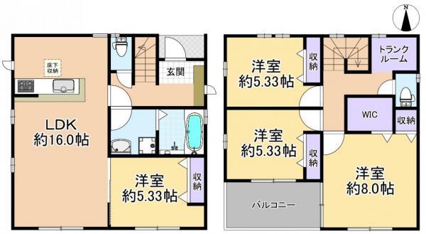 新築戸建 練馬区三原台2丁目 西武池袋線石神井公園駅 5280万円