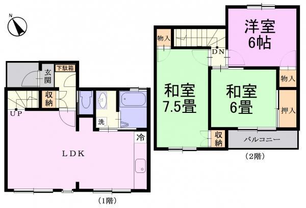 テラスハウス 佐倉市上座400-266 京成本線ユーカリが丘駅 7.3万円